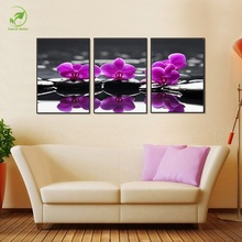 Modular 3pcs Purple Flowers Picture Melamine Board Oil Paint Framed Canvas Prints Poster Purple Flowers&Rocks Wall Art Paint