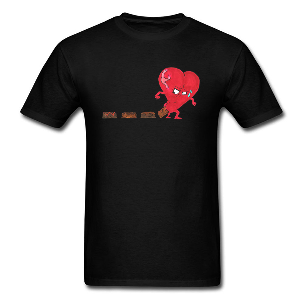 Design Chocolate Filled Heart Geek Short Sleeve Autumn Tops & Tees Wholesale Round Collar Cotton Fabric Tee Shirts Boy T Shirts Chocolate Filled Heart black