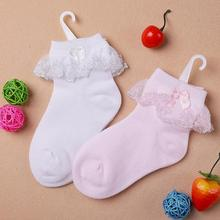 Thin summer baby girls kids toddler white pink cotton lace ruffle princess mesh socks, cheap children boot short sock sox(China)