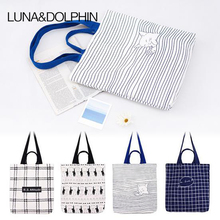 Luna&Dolphin Plaid Printed Canvas Tote Female Single Shopping Bags Cat Large Capacity Women Canvas Casual Tote Beach Bags