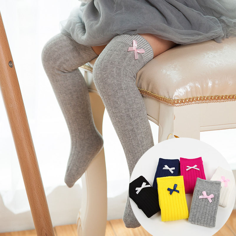 Girls Kids Children Sweet Knee High Long Socks Bow Cotton Casual Stockings Daily
