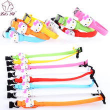 Cute hello kitty Nylon LED Dog Collar Pet Cat Collar Dog Accessories For Small Dogs Collar LED luminous usb lighted dog collars(China)