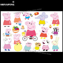SHNAPIGN Lovely Pig Children Cartoon Temporary Tattoos Sticker Fashion Summer Style Elsa Waterproof Girls Kids Boys Hot Sell