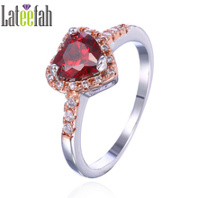 Lateefah Engagement Ring Women Fashion Jewelry Red Cubic Zirconia Rose Gold Birthstone Ring Wedding Gift Heart Shape Ring Female