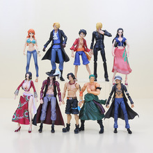 10pcs/set Japan Anime One Piece Figure Variable Heroes Luffy Ace Zoro Sanji Sabo Law Nami Mihawk Model Toy 16-18cm
