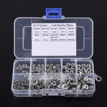160pcs Stainless Steel SS304 Pan Head Screws Nuts Assortment Kit M2 M2.5 M3 M4 M5 Nut & Bolt Set Fastener Repair Tool Accessory(China)