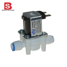 "12v 24VDC 220v high quality 1/4"" Hose quick connection NC Plastic Electric Solenoid Valve RO Aquarium Water System(China)"