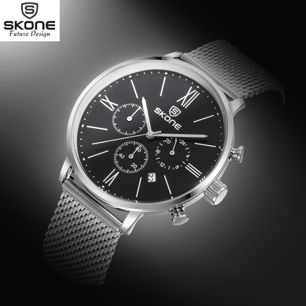 SKONE Chronograph 24 Hours Display Sport Watches Men Top Brand Silver Steel Mesh Band Watch Shock Resistant Relogio Casual Watch<br><br>Aliexpress