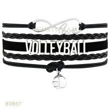 Custom-Infinity Love Volleyball Basketball Volleyball Charm Bracelets New Year Gifts Blue Bracelet Leather Custom Bracelets(China)