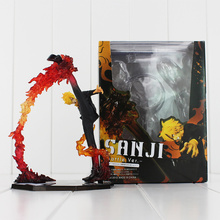 17cm One Piece Black Leg Sanji Fire Battle Ver PVC Action Figure Collection Model Toy Free Shipping