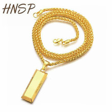 HNSP Stainless Steel Gold brick Pendant Necklaces with 727mm Link Chain for Men New Male Jewelry collar masculino(China)