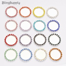Free shipping inner 25mm rhinestone buttons tray bottle cap setting can choose styles Mix 16 colors 100PCS BTN-5494(China)