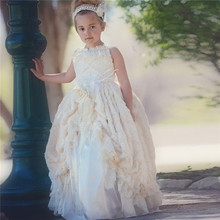 Vintage New Flower Girl Dress Ivory Handmade Flower Lace Beading Ball Gown Ruffles Formal First Communion Dress Kid Tutu Gown