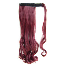 Soloowigs Fake Hair Long Natural Wave Clip In Ponytails With Velcro 47 Colors for Choose