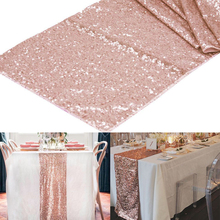 "1pcs 12""x108"" Rose Gold /Champagne Sequin Table Runner 30x275cm Sparkly Wedding Party Decor Party Event Bling Table Decoration(China)"