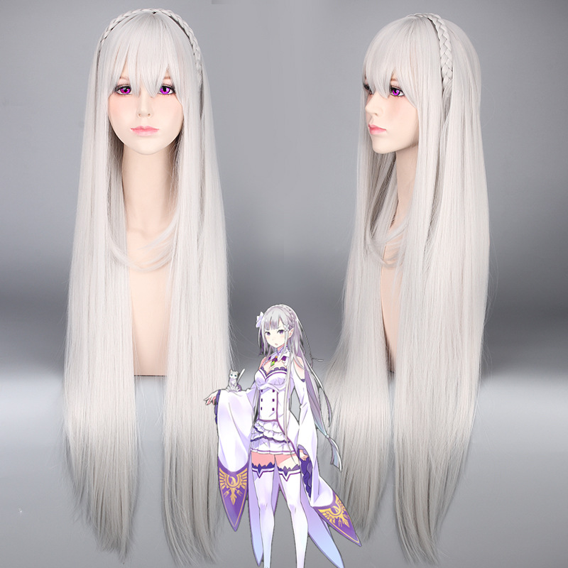 Re:Life In A Different World From Zero Emilia Cosplay Wig 100cm Long Straight Silver Grey Heat Resistant Synthetic Anime Wig<br><br>Aliexpress