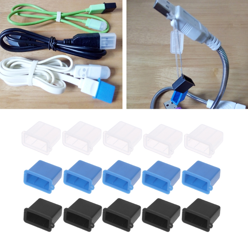 Computer & Office 5pcs Silicone Usb Type A Male Anti-dust Plug Stopper Cap Cover Protector Black/blue/white Color Drop Ship