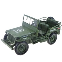 Car Toy 1:18 Scale High Simulation Military World Wars Classic Willys Tactical Jeep Off-road Vehicle Diecast Toys Collection(China)