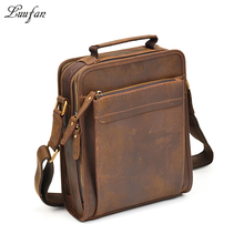 Mens Crazy horse leather shoulder bag double zipper Vintage genuine leather messenger bag iPad magazine zip around crossbody bag(China)