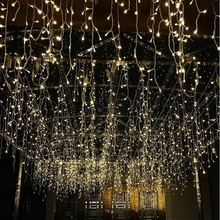 3*3M 300LED Icicle Curtain String Lights 220V New Year Christmas LED icicle Lights Waterproof outdoor for wedding holiday