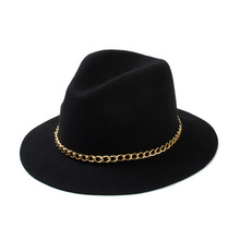 2015 New Fashionable Women 100% Wool Black Burgundy Red Fedora Hat With Gold Chain For Ladies
