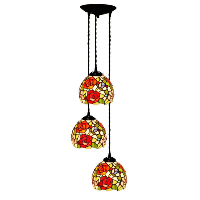 Rose Wedding Marriage Bedroom Stained Glass Decorative,Luxury Three Hanging Pendant Lamp Light Long Core Dining Room Lighting<br>