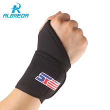 ALBREDA Adjustable Sports Thumb Loop Wristband Gym Elastic Wrist Support Breathable Wrist Joint Braces Bandage Safety Protector