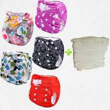 printed one size fits all eco cheap 5pcs sleepy baby diapers With 5pcs 4-Layer Bamboo Inserts(5sets)(China)