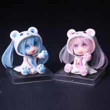 Action figure Hatsune Miku Pink Blue Bear Sexy Lovely Cute Cartoon Doll 6cm Box-packed Japanese  Anime Figurine 170437