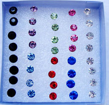 Wholesale 20Pairs /pack Fashion Multicolor Round Rhinestone Crystal Plastic Stud Earrings Women Girls Allergy Free Jewelry