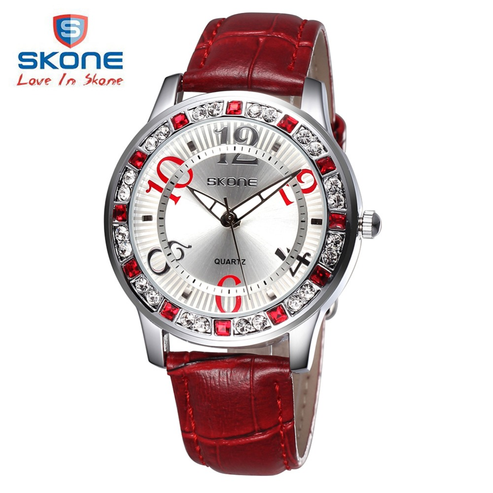 SKONE Fashion Leather Luminous Diamond Women Watches Top Brand Luxury Ladies Quartz Watch Relogio Feminino Montre Femme Watches<br><br>Aliexpress