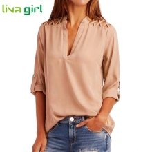 Activing Charming Women Chiffon Solid Tab-Sleeve Hollow Out Blouse Outdoor T Shirt Tops Blouse  F21X18