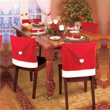 1 Pc Christmas Dinner Table Chair Hats Covers Decor Santa Claus Red Hat Chair Back Cover Christmas Decoration Home Party Holiday(China)