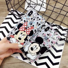 5plus 2017 Newest Cute Cartoon Minnie Mickey Mouse Soft Clear Case Cover for cap inhas iPhone 7 6 8 Plus Rubber Silicone Case