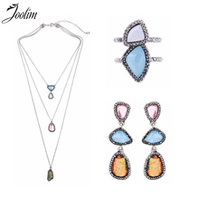 JOOLIM Jewelry Wholesale/2018 Spring & Summer New Geo-Cut Necklace Earring Ring Jewelry Set(China)