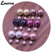 6 Pairs/lot Mix Fashion Korea Pop Flower Print Cheapest Double Side Stud Earrings Big Pearl Earrings Jewelry for Women(China)