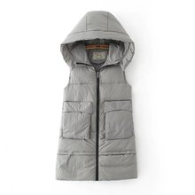 Autumn & Winter Fashion Women Casual Quilted Padded Hooded Vest with Pocket Detail(China)