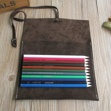 Genuine Nubuck Leather Vintage Pencil Case High Quality Pencil Bag Pen Curtain Bussiness Stationery Office Supplies