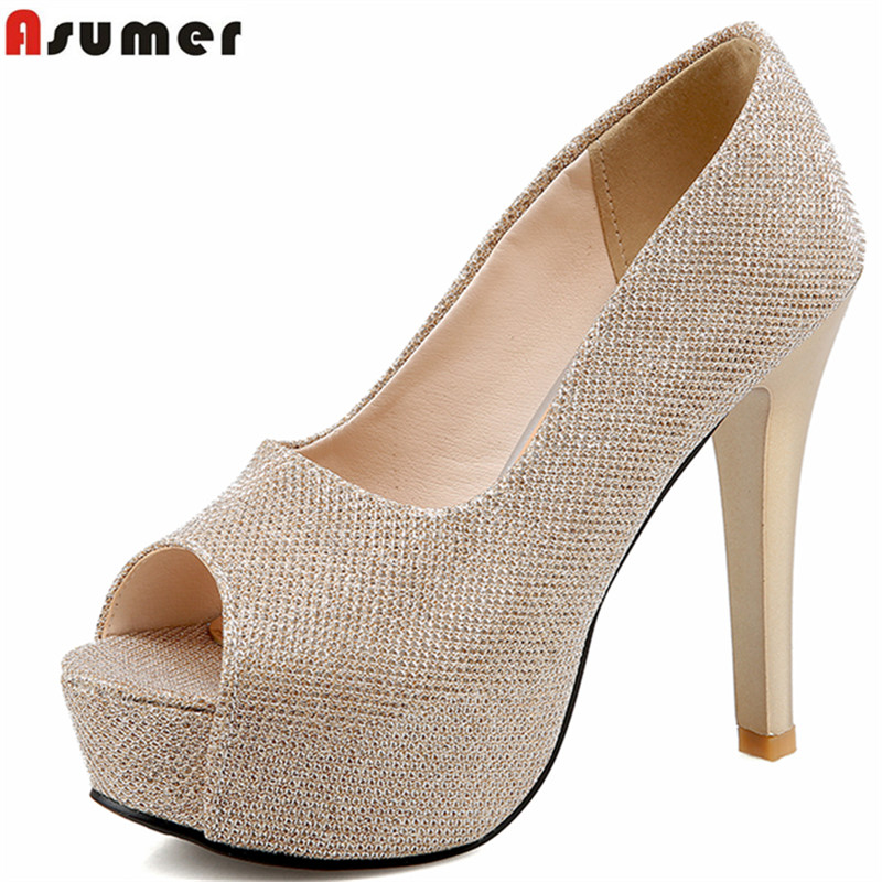 ASUMER plus size 34-45 new high quality peep toe women pumps 12cm high heels Sequined Cloth thin heel lady wedding shoes woman<br>