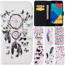 Luxury Cute Cartoon 3D Butterfly Net Flower Deer Leather Flip Fundas Case For Samsung Galaxy A3 A5 2016 A310 A510 Back Cover