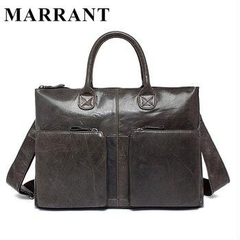 Marrant casuais saco de couro genuíno bolsas de couro homens sacos crossbody sacos de viagem tote pastas laptop saco dos homens dos homens l502