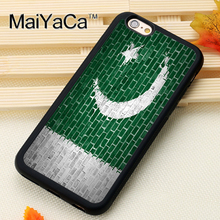 Pakistan Flag on Brick Wall Pattern Soft Rubber Phone Cases For iPhone 6 6S Plus 7 7 Plus 5 5S 5C SE 4 4S Cover Bags Skin Shell