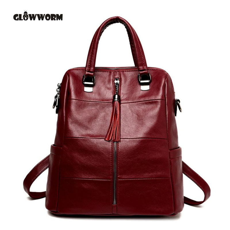 GLOWWORM Genuine Leather Backpacks Women School Style Sheepskin Travel Bag Real Leather Backpack Female Brand Designer<br>