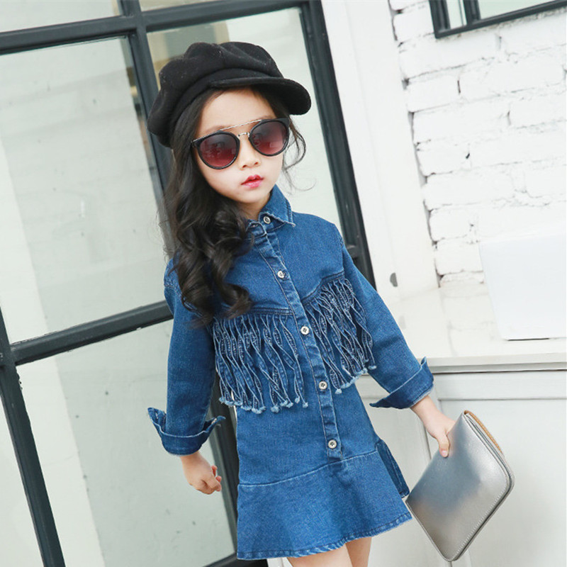 In spring, autumn girl dress fashion girl tassel cowboy 2 to 9 years old children wearing long-sleeved clothes teenagers dress<br><br>Aliexpress