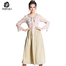 AOFULI S - XL Sweet Peter Pan Collar Ladies Ribbon Bow Dress Split Sleeve 2017 Golden Embroidery Women Pleated Boutique 3517(China)