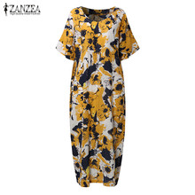Buy 2017 ZANZEA Women Boho Floral Print Summer V Neck Short Sleeve Midi Kaftan Dress Loose Casual Baggy Long Vestido Plus Size for $11.51 in AliExpress store