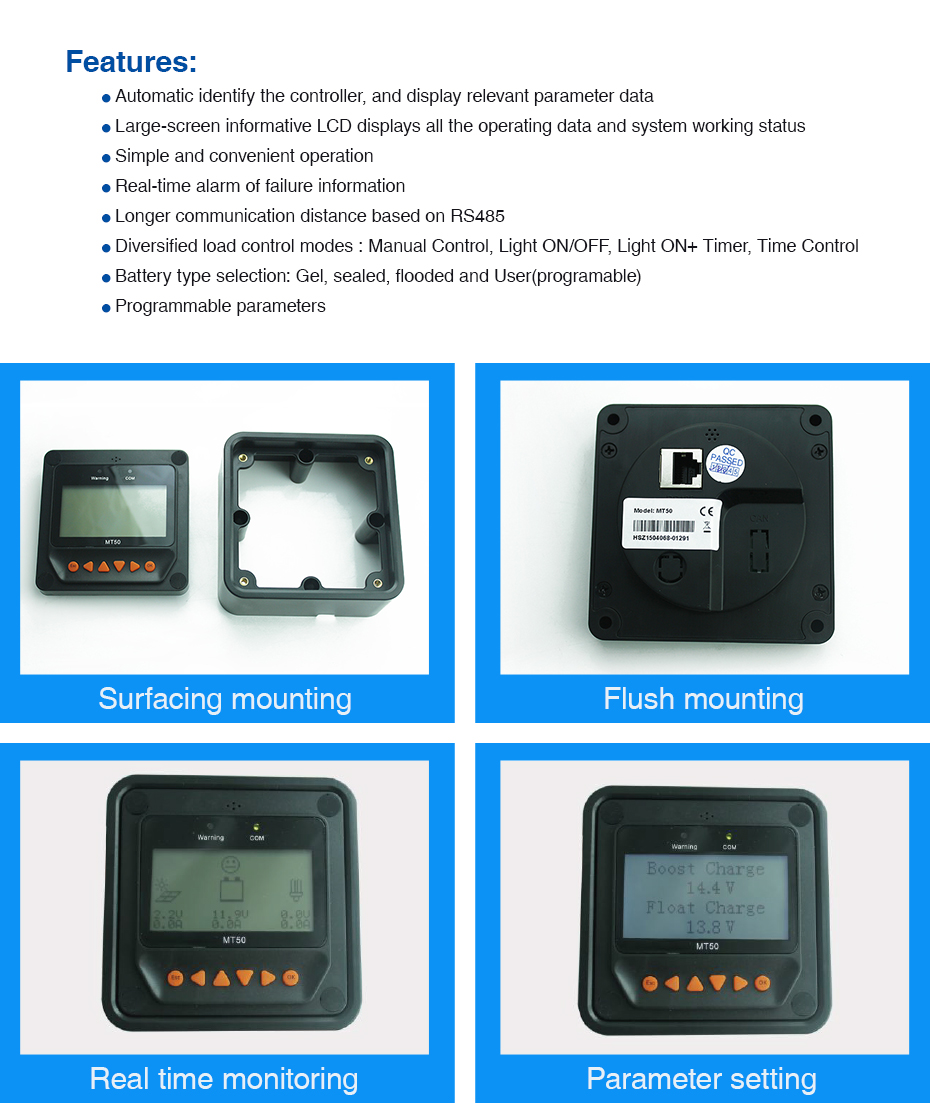 Remote Meter Display MT-50 for EPever EPsolar MPPT Solar Charge Controller Tracer-AN Tracer-BN TRIRON XTRA ViewStar-AU BN Series_02