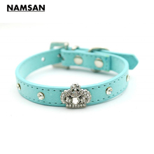 Namsan Dog Pet Collar Pet Product Bling Rhinestones Crystal Crown Charm Collar Dog Collar Velvet Leather Necklace 4 Colors