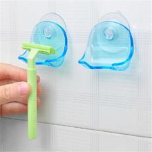 1Pcs Clear Blue Plastic Super Suction Cup Razor Rack Bathroom Razor Holder Suction Cup Shaver 2015 hot free shipping