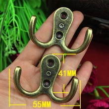 10pcs/lot brass double hooks for wall coat hanging home furniture hanger with screw(China)